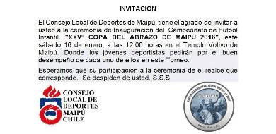 invitacion consejo local  de deportes