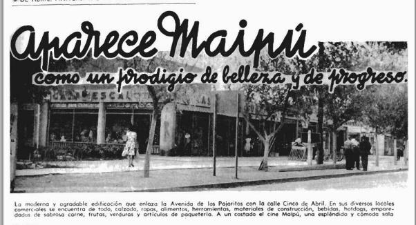 MAIPU EN REVISTA EN VIAJE 432 ABRIL DE 1962  CENTRO DE LA COMUNA