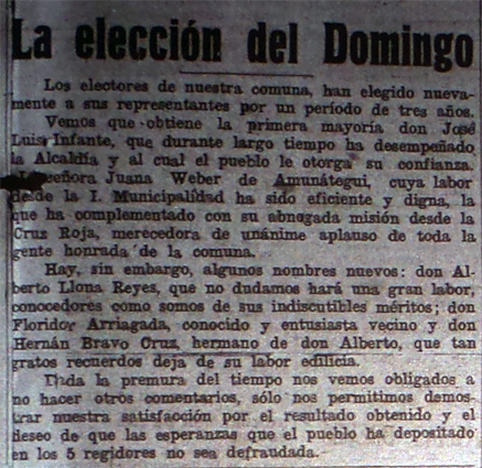 Nota de prensa sobre la elección de 1950. *