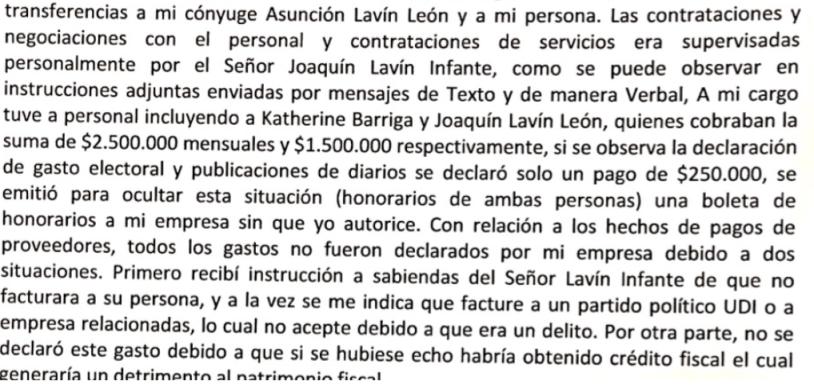 denuncia de isaac gigovich a cathy Barriga y joaquín lavín león
